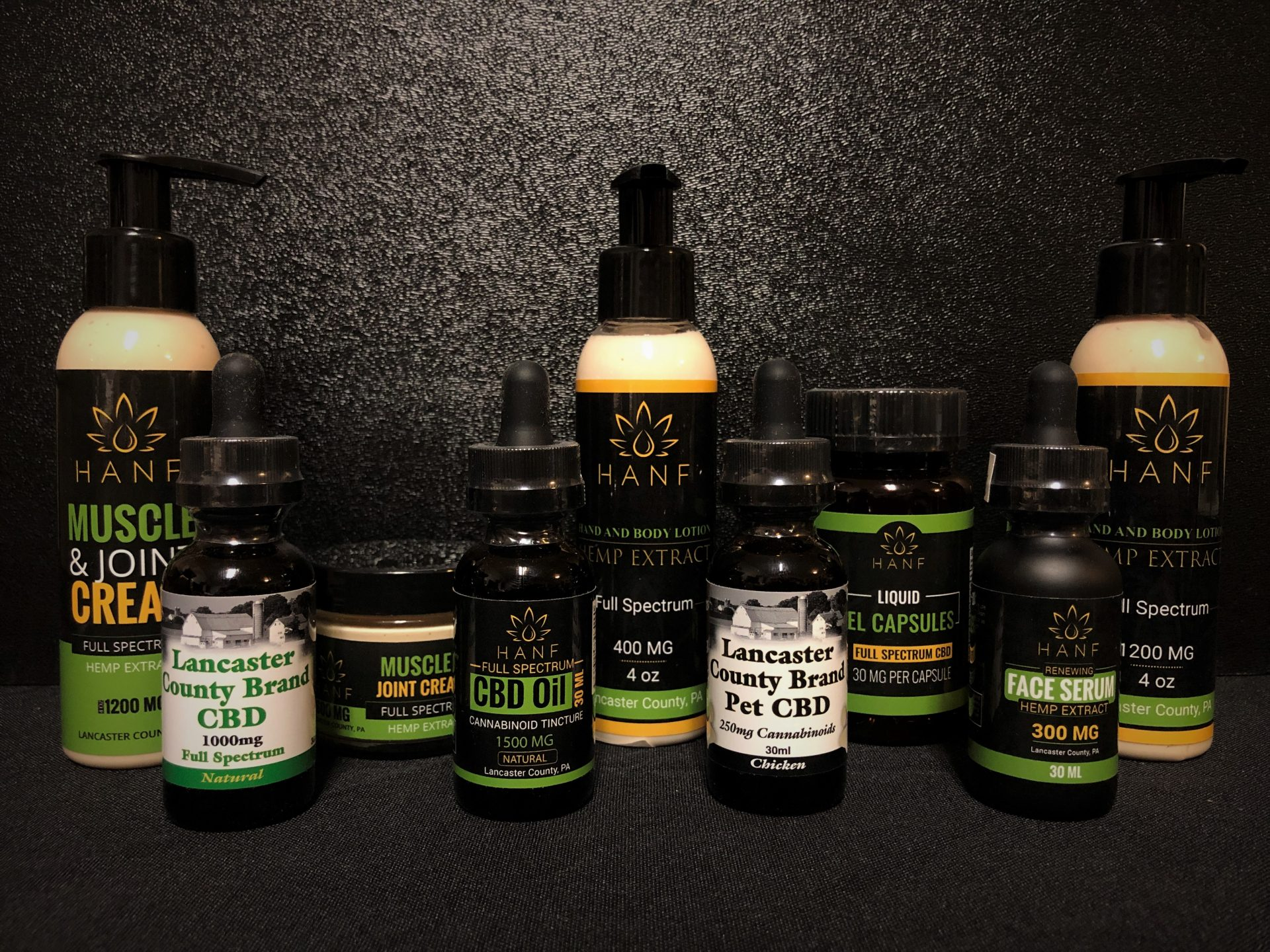 display of Lancaster County and Hanf CBD products